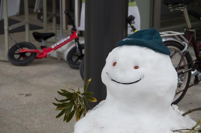 帽子を被った雪だるま